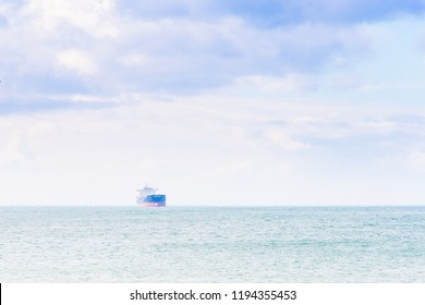 Ship in the distance through sea mist