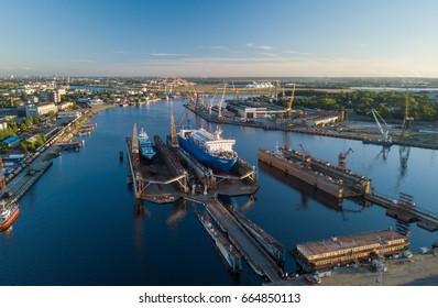 The ship is at the dock of the shipyard. Riga, Latvia, Daugava.