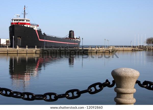 Ship docked in harbor