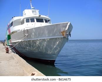 ship docked at pier