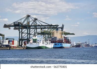 Ship docked in port of Santos