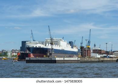 Ship in dry dock shipyard shipyard Hamburg harbor ship dock dock port shipbuilding