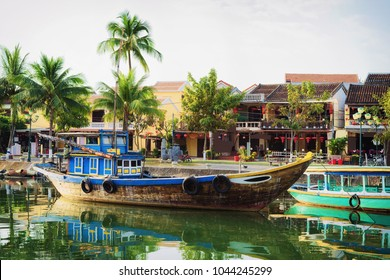 Ship at the Embankment of Thu Bon River in Hoi An, Vietnam