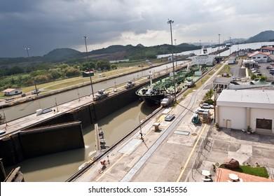 Ship entering Miraflores locks in Panama canal