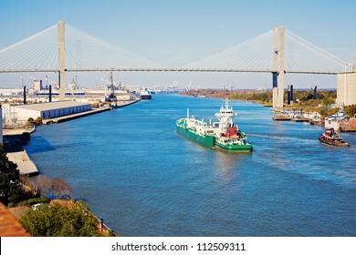 Ship entering port of Savannah - Talmadge Memorial Bridge