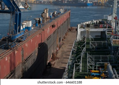 Ship in a floating dock