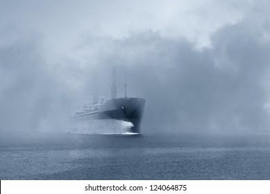 ship in the fog