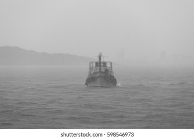 The ship is in a fog - black and white