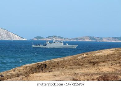Ship in Fort Beach Sea Copacabana - Rio de Janeiro - Brazil