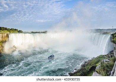 Ship in front of Horseshoe Fall, Niagara Falls, Ontario, Canada