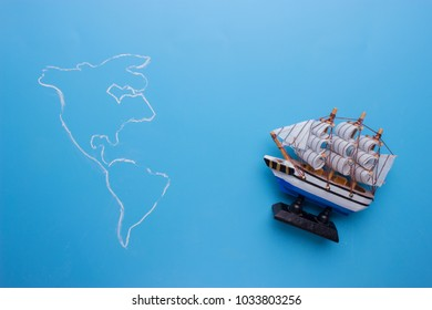 ship goes to america on blue background