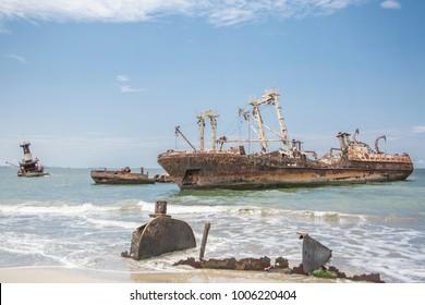 Ship Graveyard on water in Luanda - Angola