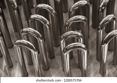 Ship heaters closeup. Maritime spare parts closeup. Heating equipment for marine vessel. Abstract textures. Industrial background. 3D metal shapes. All metal smooth backdrop.