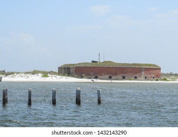 Ship Island, Mississippi - 6/23/2019: Ocean View of Civil War Fort Massachusetts, on a barrier island off the Gulf Coast of Mississippi, part of Gulf Islands National Seashore