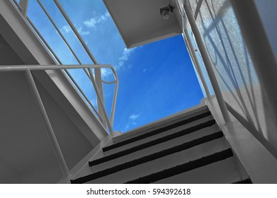 Ship ladder and blue sky