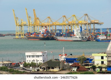 a ship are leaning on the port of Tanjung Emas in Semarang City, Central Java, 17 January 2019