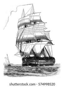 Ship of the line of third power drops, seen by the port side davit, vintage engraved illustration. Magasin Pittoresque 1842.
