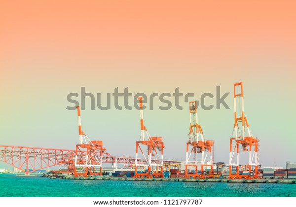 Ship loader or container crane for load container to ship in Osaka bay,Janpan
