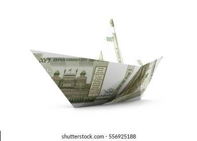 Ship made of Indian currency note. 3d render