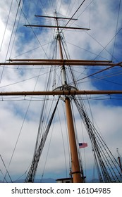 Ship Mast with American Flag