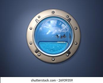 Ship metal window and far far island.