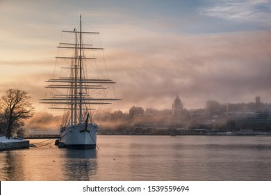 Ship in mist on a winter morning in Stockholm.