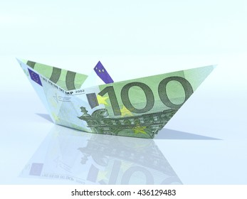 Ship model made out of Euro banknote