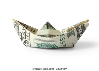ship from a money isolated on white