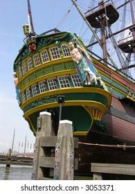 Ship named Amsterdam in Amsterdam's bay