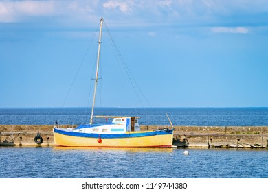 Ship in Nida resort town near Klaipeda in Neringa on the Baltic Sea at the Curonian Spit in Lithuania.