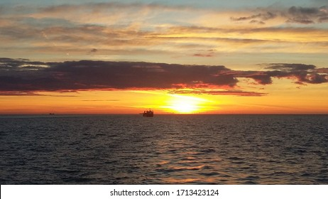 ship in the north sea st sunset