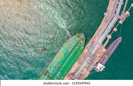 Ship oil tanker and LPG gas in port for export at sea. Aerial view