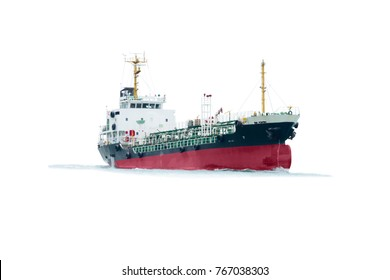 Ship with oil tanker  vessel freight , floating Storage Unit import export petroleum gas to yard port on white background.