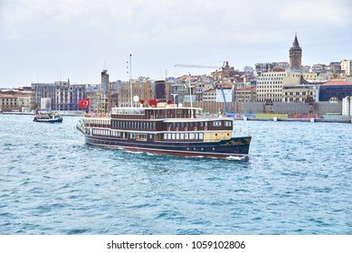 the ship in the old style goes to the bosfor in Istanbul