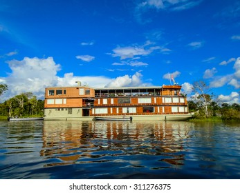Ship on the Amazon river