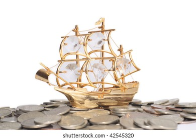 ship on the coins isolated on white