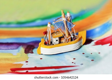A Ship on the colorful background, Creative background, New day or I have a dream