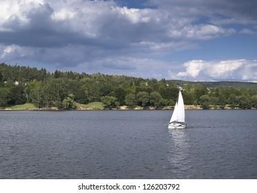 a ship on dam
