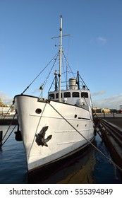 Ship on docks in South Harbour of Helsinki, Finland