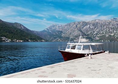 Ship on pier at Bay of Kotor