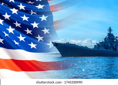 A ship on a Sunny day against the background of the us flag. An American warship with guns and radars. American fleet. Naval forces of the United States. Armies of the world