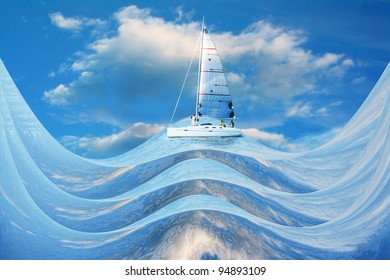A ship on the waves of dreams, in a crystal sky
