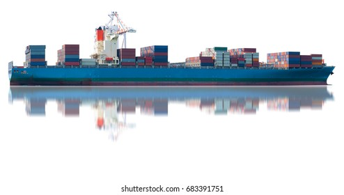 ship on white back ground import export goods