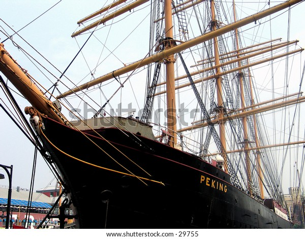 """The ship """"Peking"""" at the South Street Seaport in NYC."""