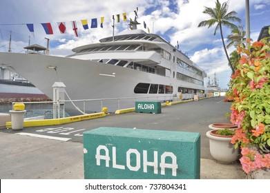 Ship in Port of Honolulu, Hawaii, United States