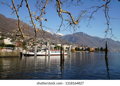 Ship in port of Locarno city during sunny day