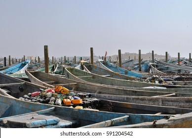 Ship in port in mauritania capital.