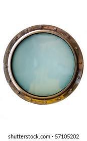Ship porthole isolated over white
