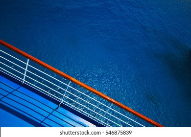 Ship railing in the natural light of day