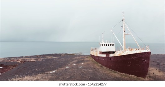 The ship ran aground. Dry cargo ship on the shore after a storm in the sea.
